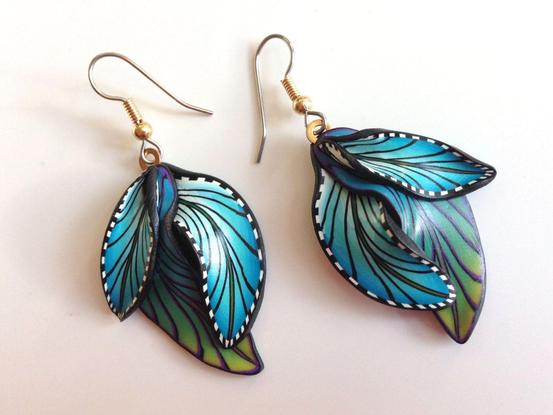 Fimo Earrings Polymer clay earrings Blue Earrings от PolymerGarden