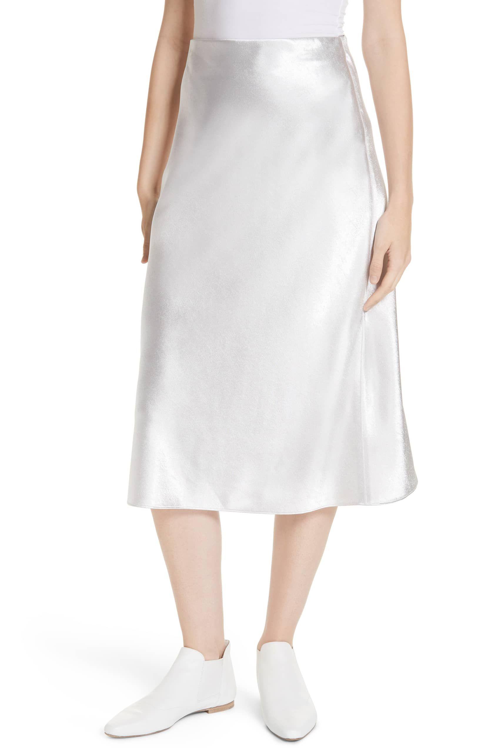 bdcc34539d Satin Slip Skirt, Main, color, SILVER   skirt in 2019   Satin midi ...
