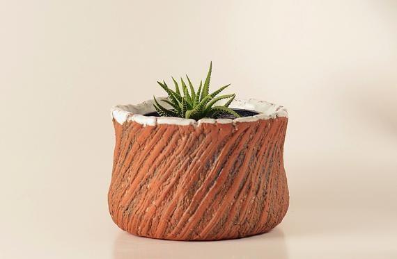 Farmhouse Rustic Handmade Ceramic Planter Flower Plant Pot Handmade Ceramic Planters Small Succulents