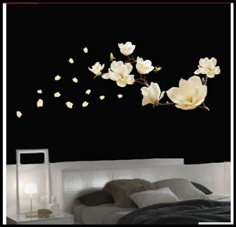 Magnolia Flower Tree Wall Decals Sticker Mural Home Art Decor -  custom pontoon decals