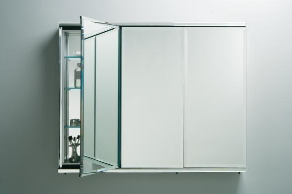 Robern C Series 36 Inch Three Door Flat Beveled Mirrored Cabinet W Electrical Option