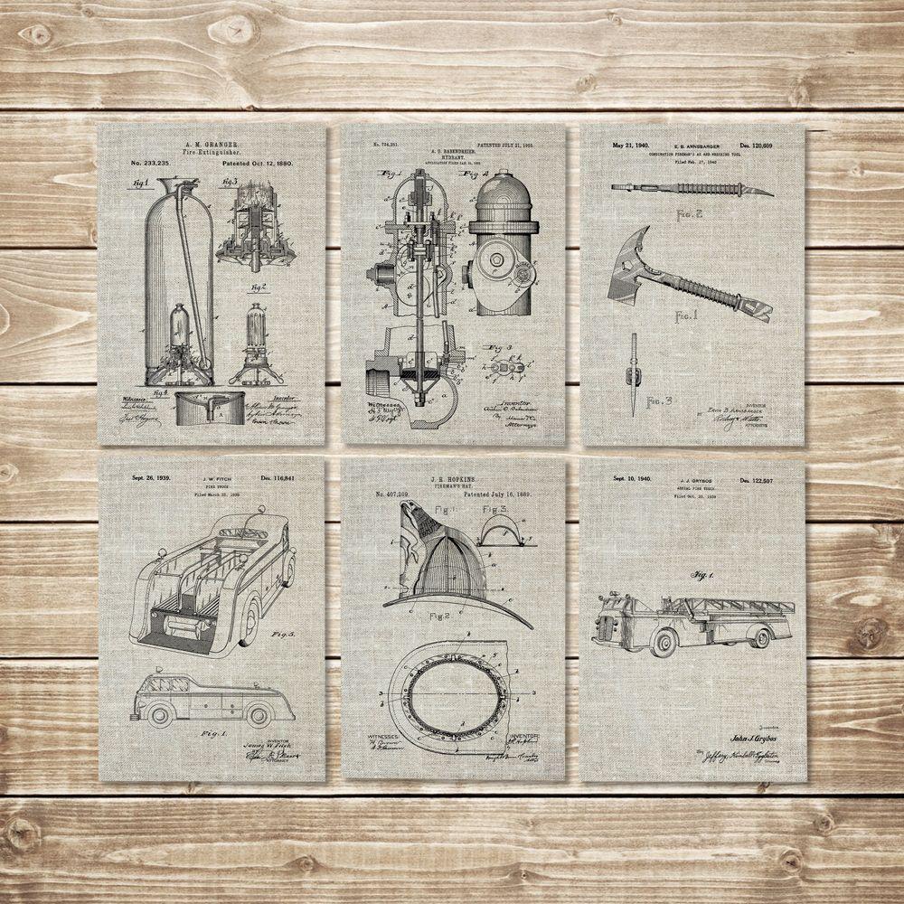 Firefighter Decor, Patent Print Set, Firefighter Wall Art, Fireman Printable, Firefighter Art Gift, Fireman Art Gift, Art, INSTANT DOWNLOAD