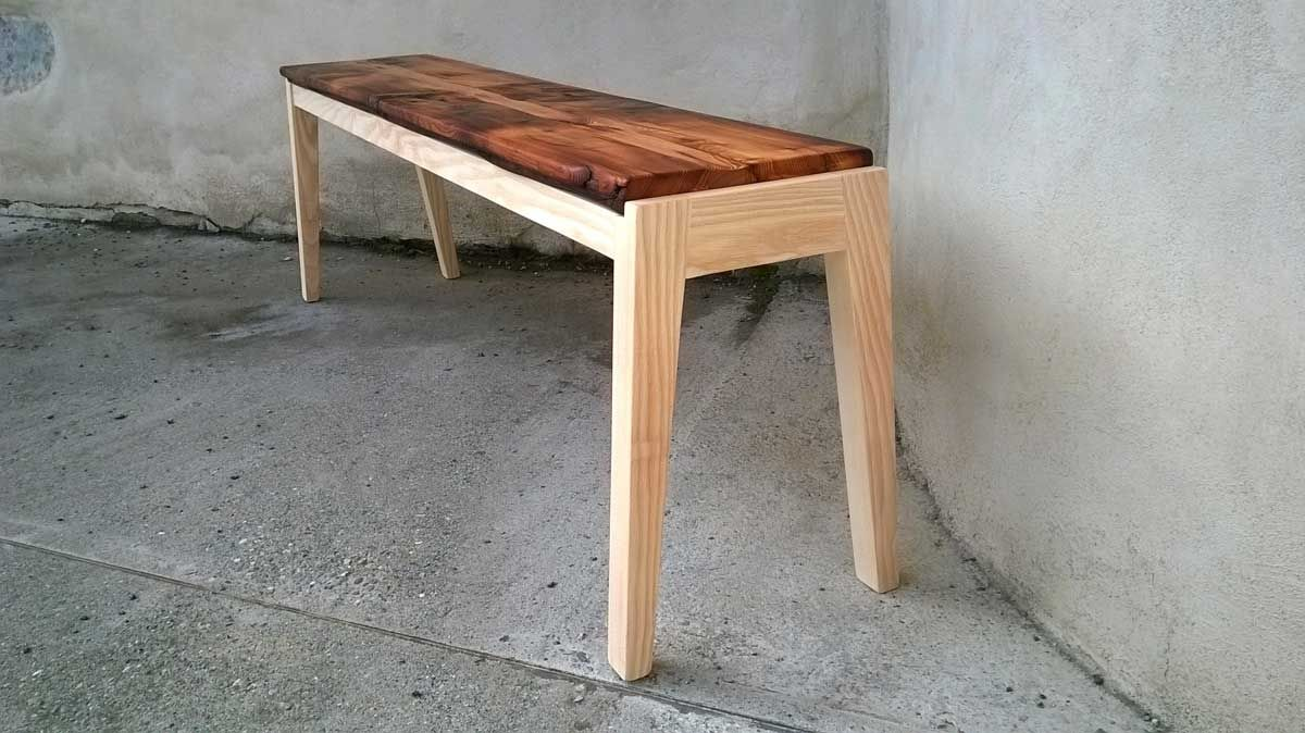 Banc contemporain en frêne et vieux bois | Woods, Wood design and Bench