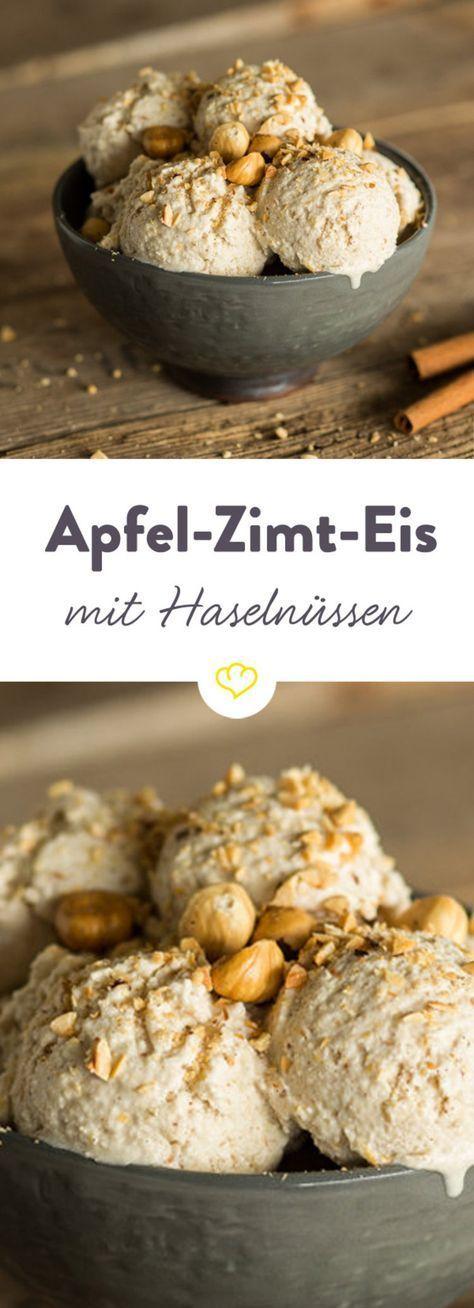 Apfel-Zimt-Eis mit gerösteten Haselnüssen #homemadeicecream