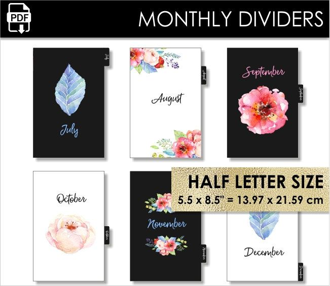 Monthly Half Letter Size Planner Dividers Day-Timer Desk Franklin