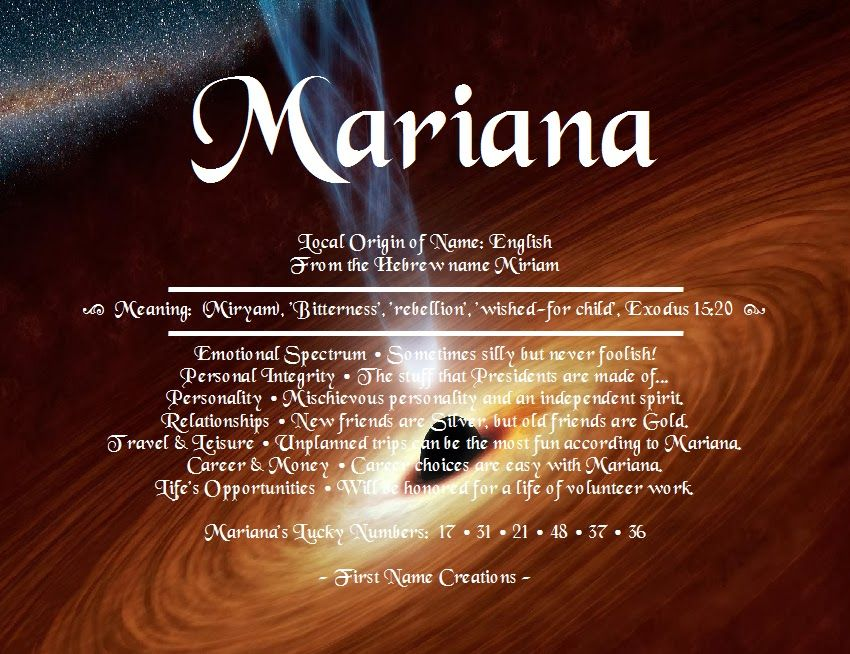 Mariana Name Meaning First Name Creations Names With