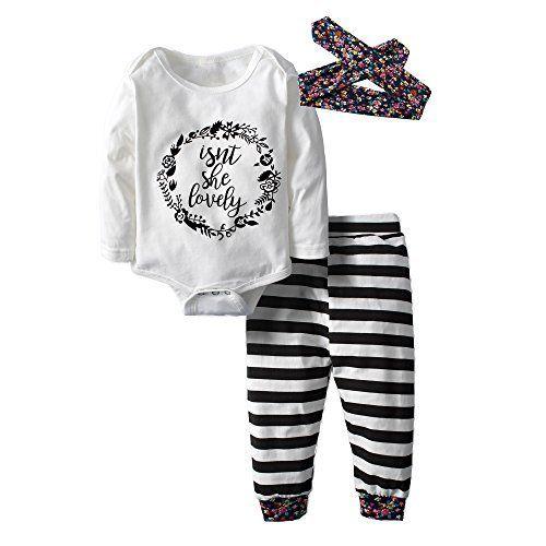 da8c43ddb794 Baby Kids Girls Long Sleeve Stripe Tops Shirt+Floral Pants 2Pcs ...