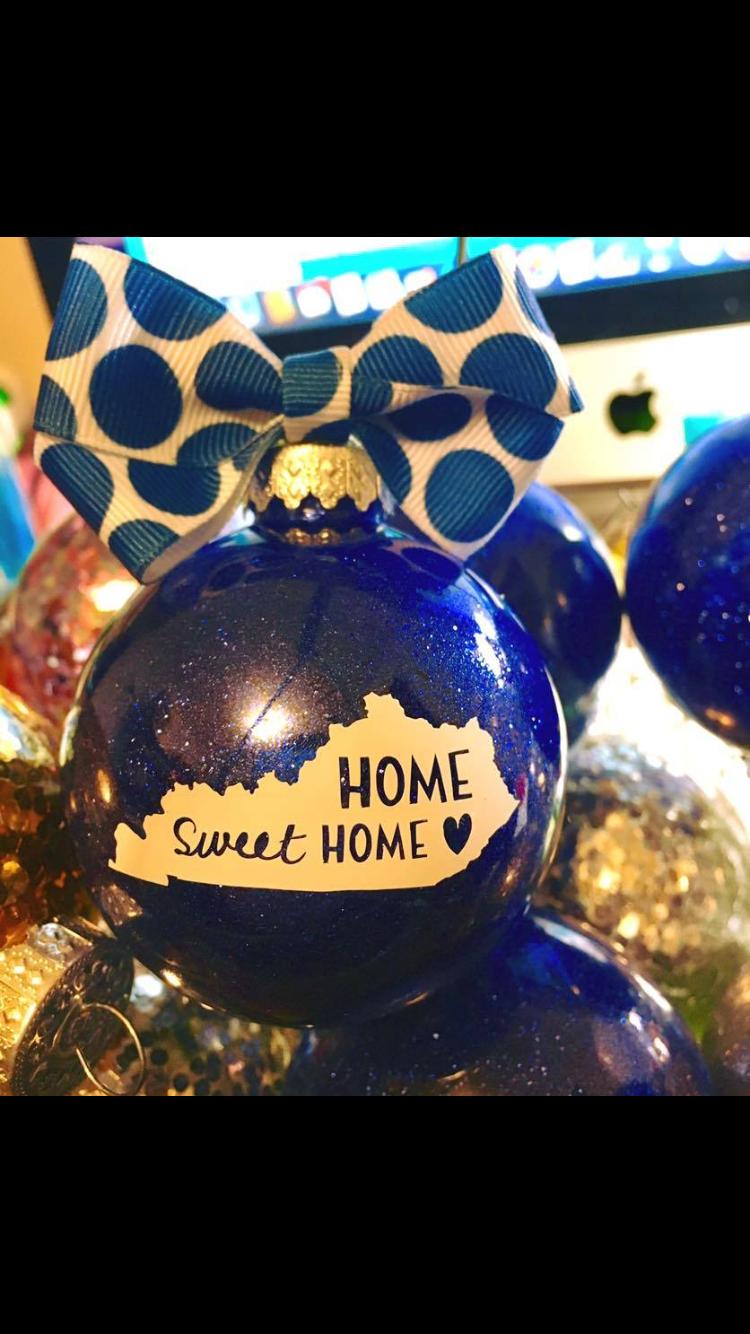 Glitter Ornament Kentucky Home Christmas Ornaments Homemade Vinyl Ornaments Christmas Ornaments