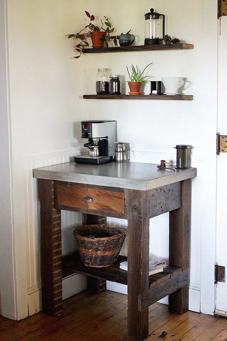 Kitchen Small Corner Coffee Station Table With Stainless Steel Countertop And Wooden Base With Drawer Coffee Bar Home Coffee Bars In Kitchen Kitchen Bar Table