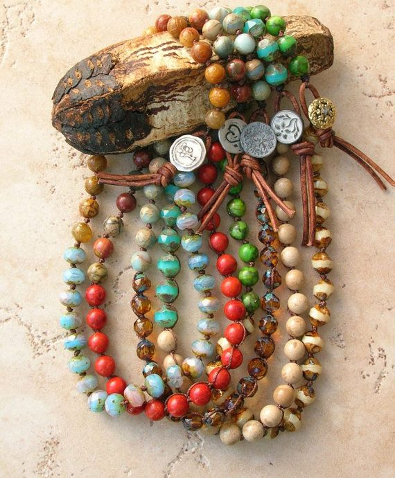 Boho wrap bracelet, leather bracelet -Tangier Tango - Bohemian jewelry, knot…