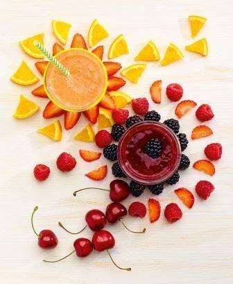 """Fruity Fruit Power  und Berry Berry Best. Aus: """"Smoothies"""", TRIAS Verlag. ©Meike Bergmann, Berlin"""