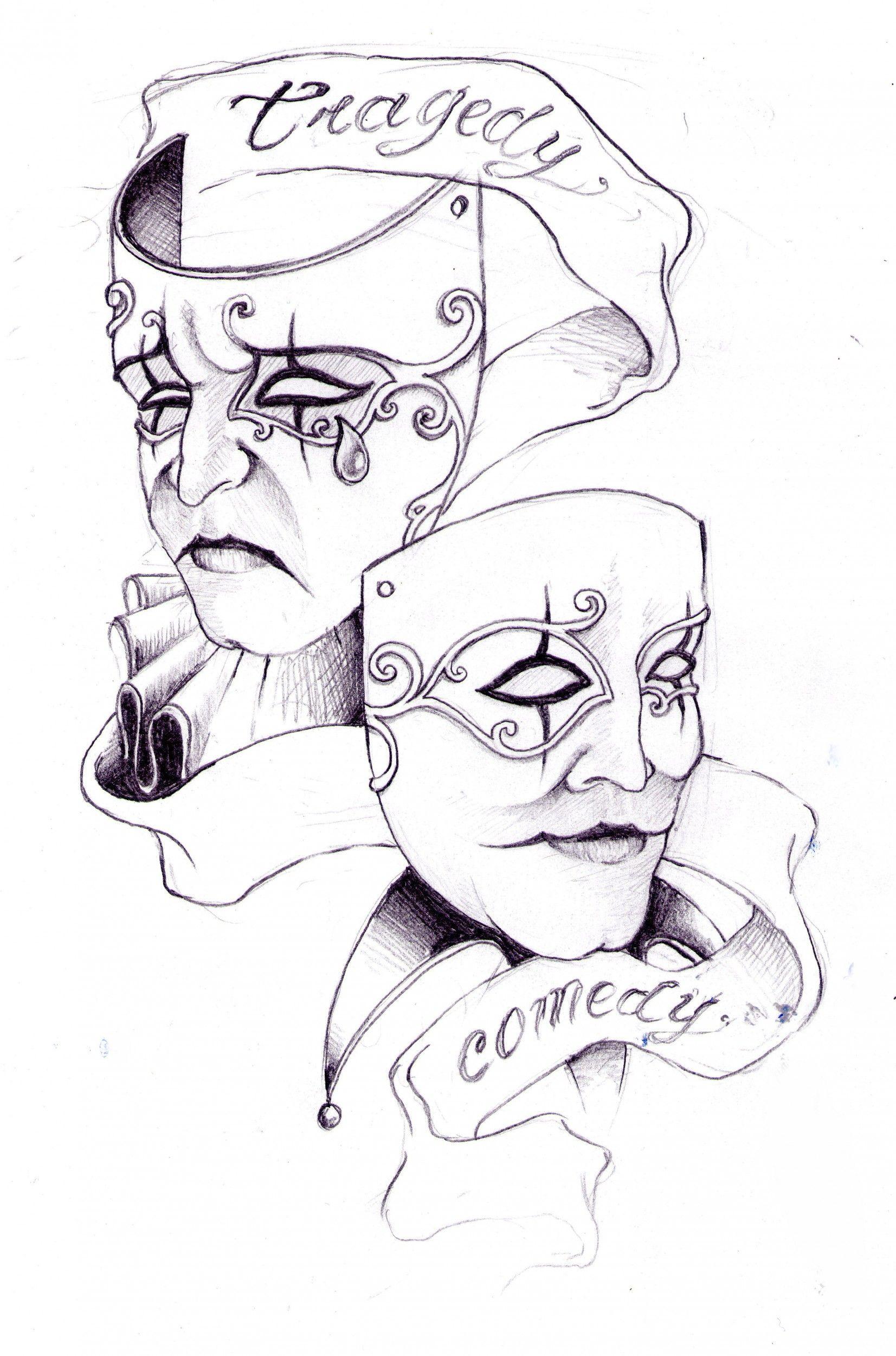 Skull Drama Face Tattoo: Drama Faces Tattoo Girly - Google Search