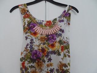 Floral Dress with Funky Primark necklace