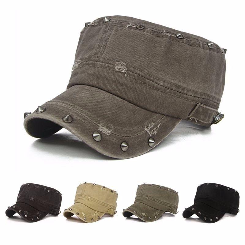 ad86ca807b0766 Men Women Cotton Blend Baseball Cap Army Cadet Military Rivet Wash Hole  Adjustable Hats