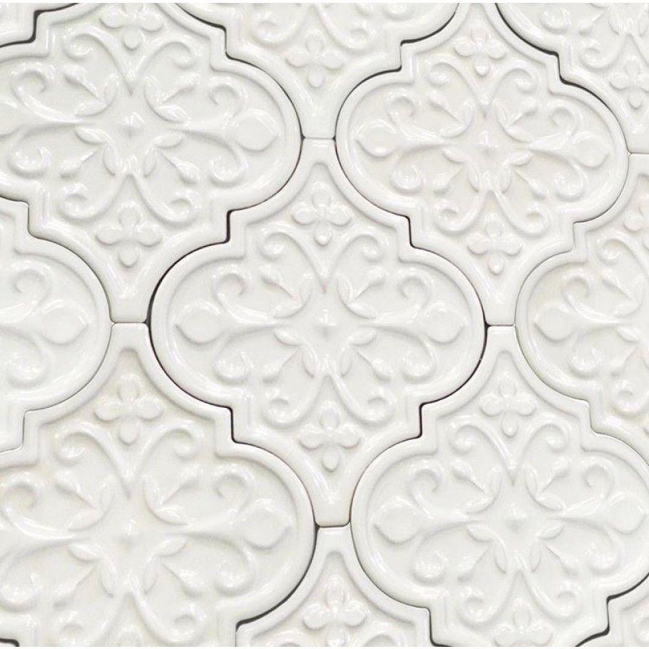 Byzantine Florid Arabesque Bianco Ceramic Tile Arabesque