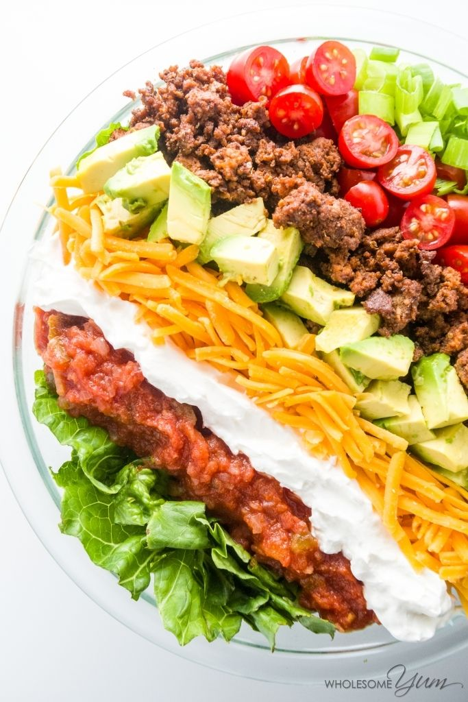 Easy Taco Salad Low Carb Gluten Free This Easy Low Carb Salad Is Like A Beef Taco In A Bowl J Healthy Tacos Salad Taco Salad Recipe Healthy Healthy Tacos