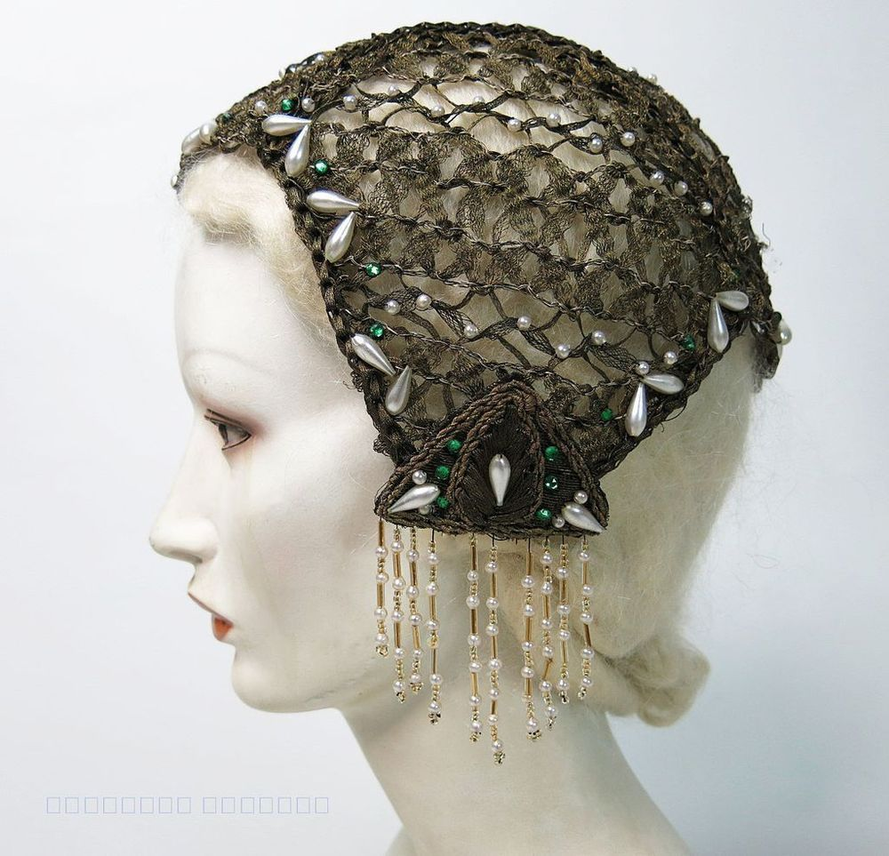 Beyond The Fringe Mini Hat Pins: Exceptional Vintage 1920's Beaded Gold Metallic Lace