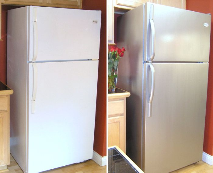 Transform Your Furniture And Appliances With Stainless Steel Paint Home Diy Refrigerator Makeover Stainless Steel Paint