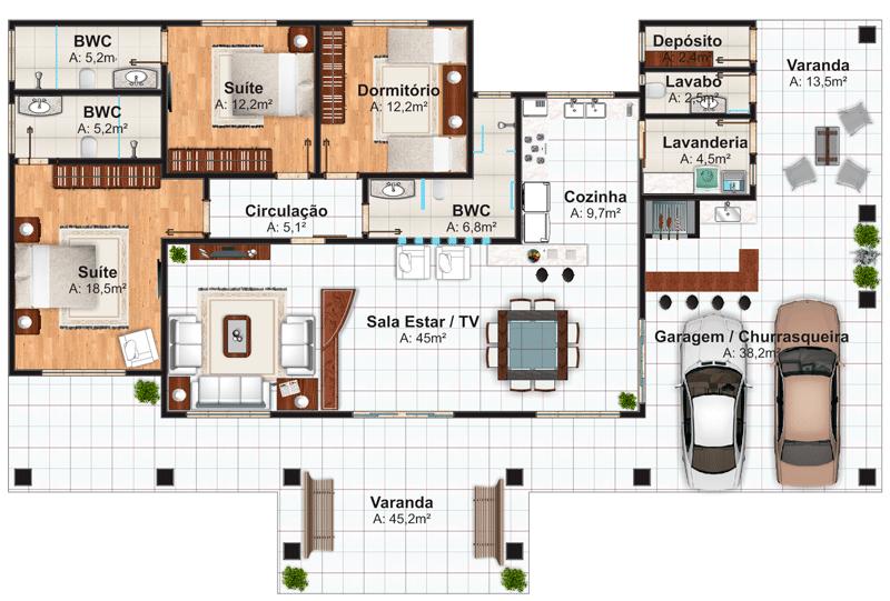 Plano de casa de 228 m2 planos de casas pinterest for Planos de casas de campo de madera