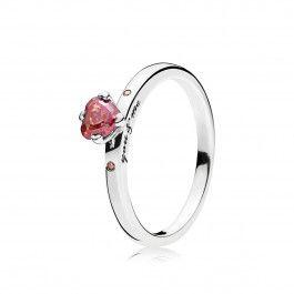 anillo pandora rojo
