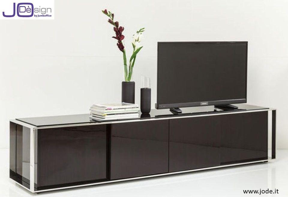 Mobili Verniciati ~ Un mobile porta tv dal design pulito in legno scuro rifinito in