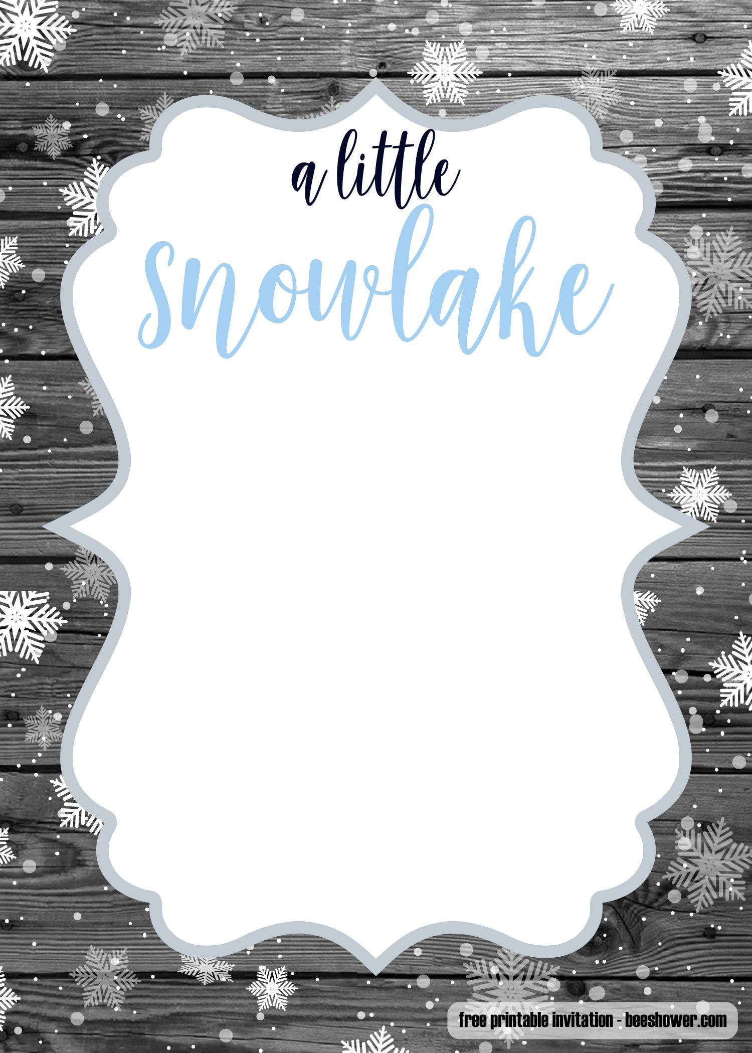 Free A Little Snowflake Baby Shower Invitation