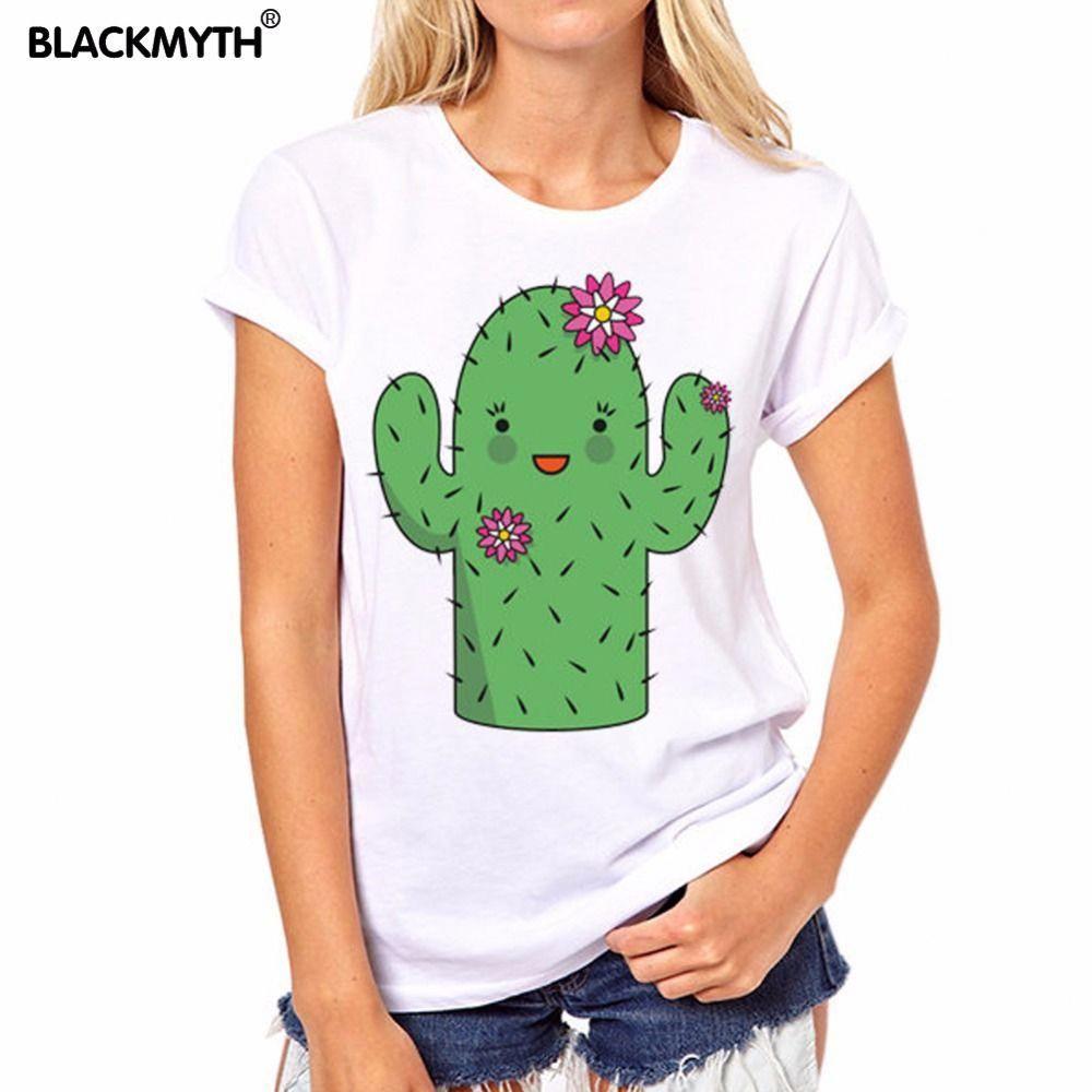 Barato Mulheres camiseta Verão Novo Estilo Casual Estilo Moda Adorável  Cactus Impressão Branca de manga Curta Padrão Confortável abc03722dc36b