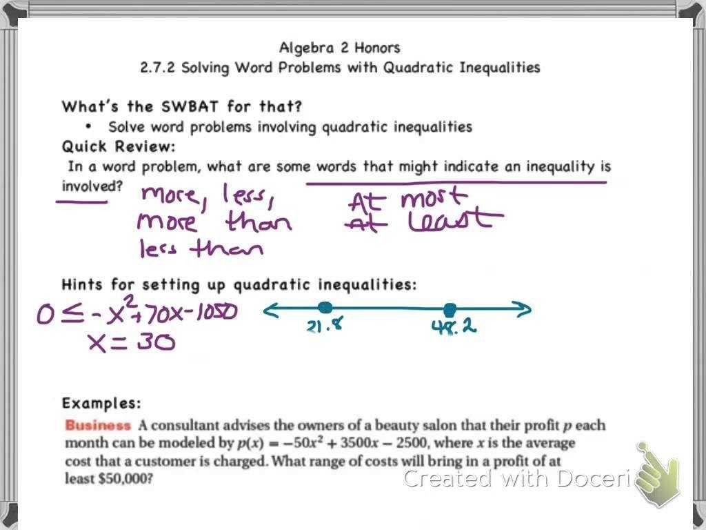 Quadratic Word Problems Worksheet Answers