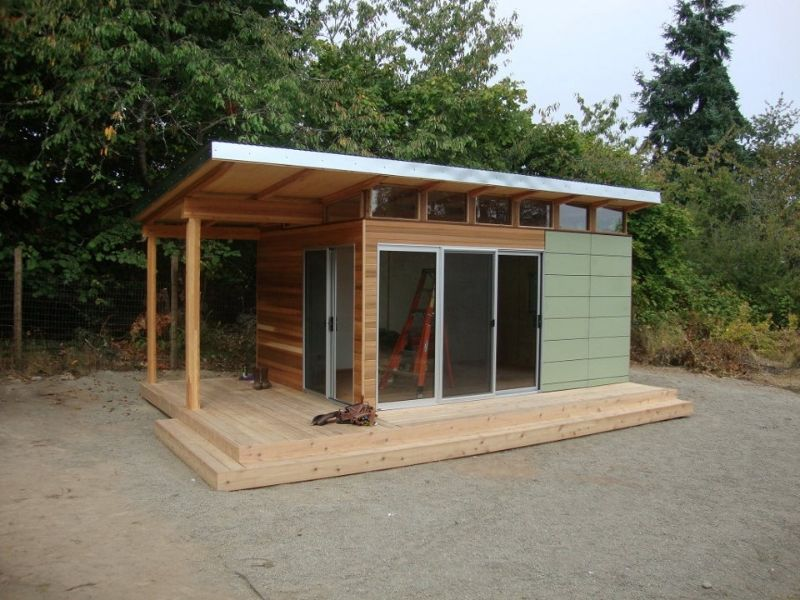 Modern shed pre fab shed kit 12 39 x 16 39 coastal prefab for Front porch kits for sale