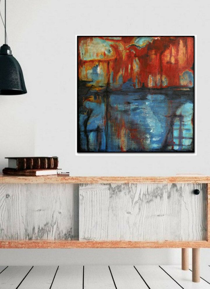 Large wall art original abstract painting acrylic home decor that inspires pinterest walls paintings also rh