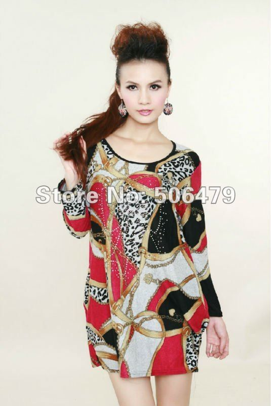 Freeship Wholesale Red/Green Autumn Fashion Printed plus size women clothing ladies long sleeve T-shirt Tops Casual dresses on AliExpress.com. $16.99