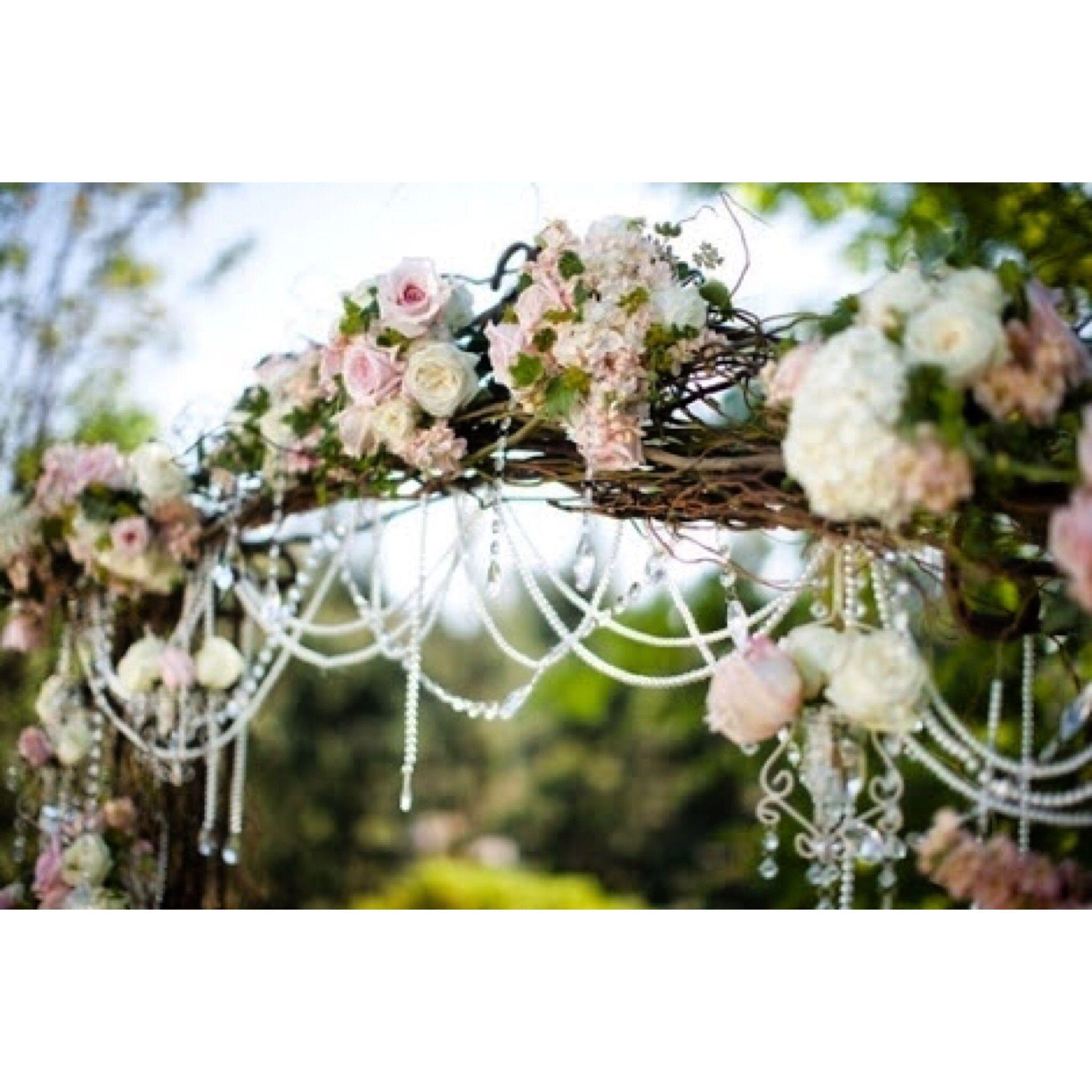 Romantic country ceremony archway.
