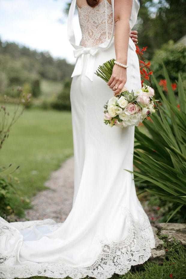 stunning lace back David Fielden wedding dress captured by Dasha Caffrey   onefabday.com