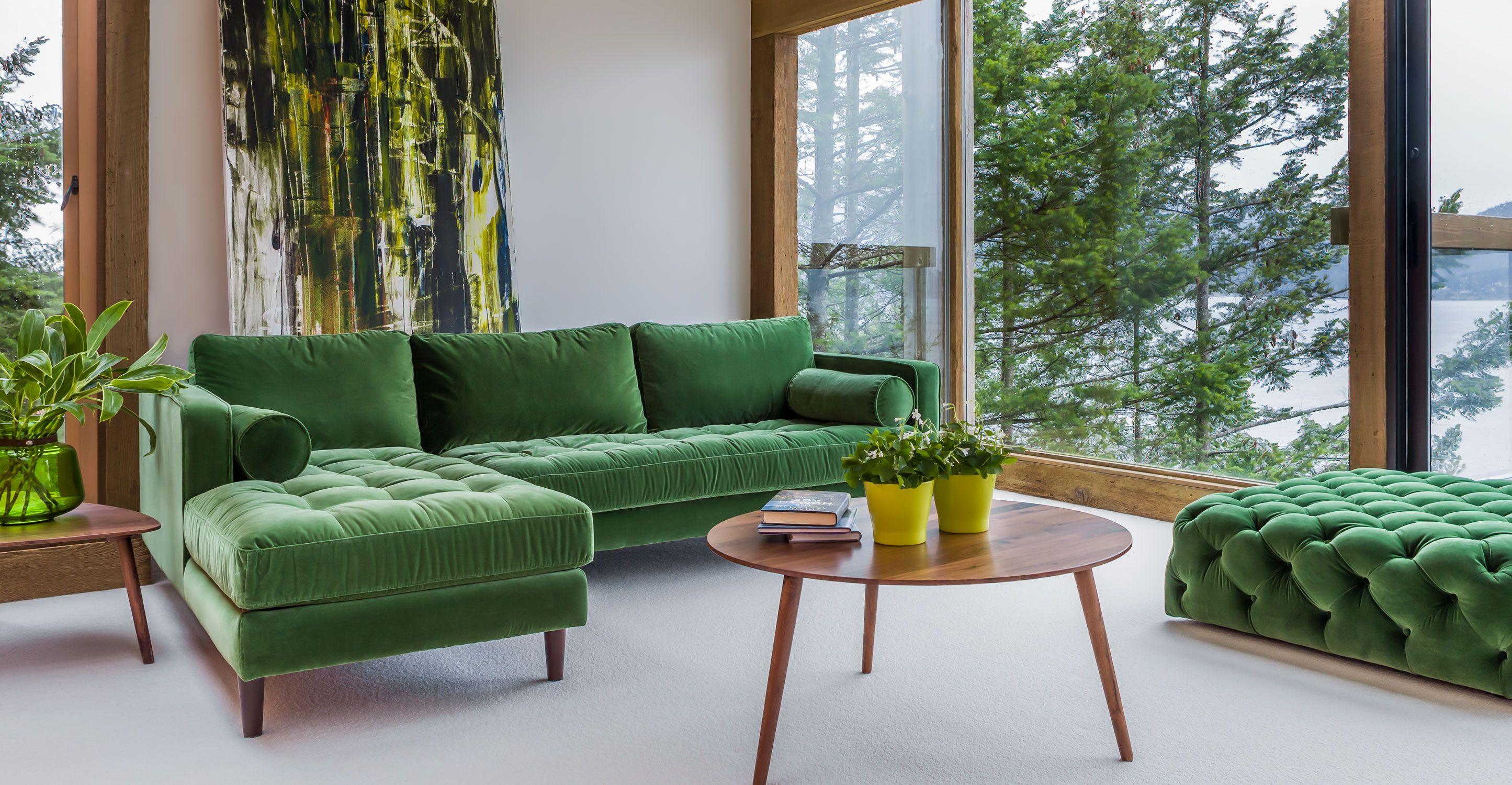 Grass Couch Green Velvet Left Sectional Tufted Article Sven Modern