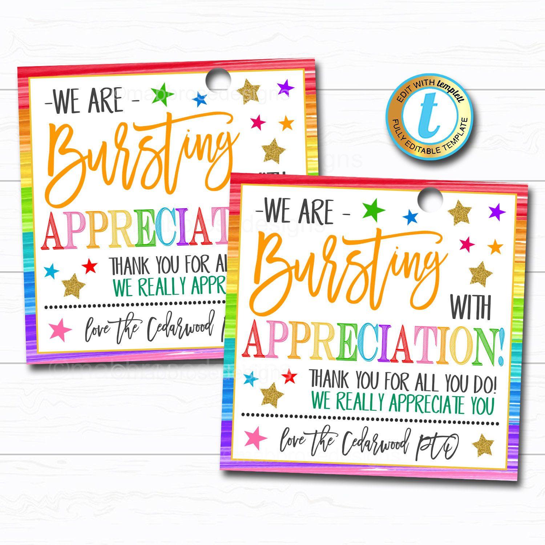 Appreciation gift tags bursting with appreciation candy
