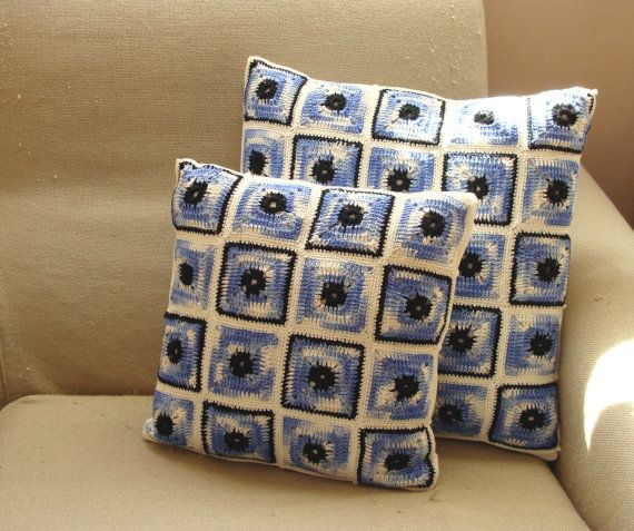 Blue and white crochet pillowcases set 12 and 15 inches by zolayka