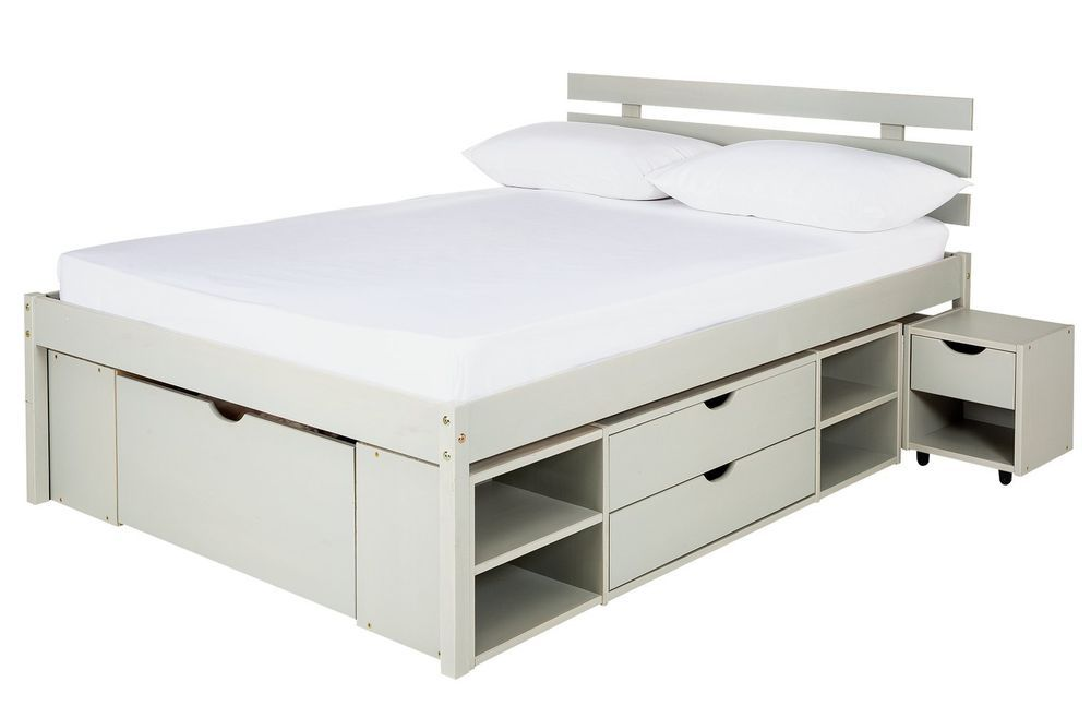 Modern Light Grey Finish Bed With Five Drawers Eight Shelves And