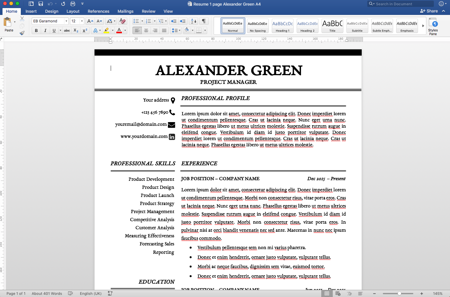 Resume Template Alexander Green  Template Cover Letter Template