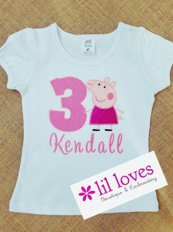 Peppa Pig Birthday Shirt Embroidered