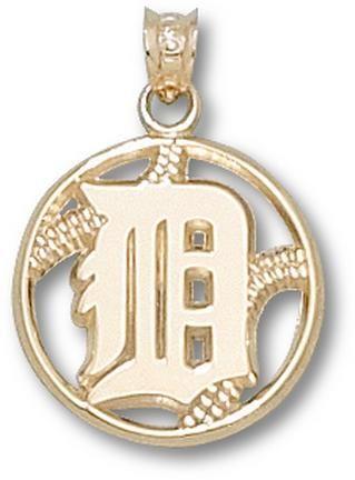 Detroit Tigers D Pierced Baseball Pendant 10KT Gold Jewelry