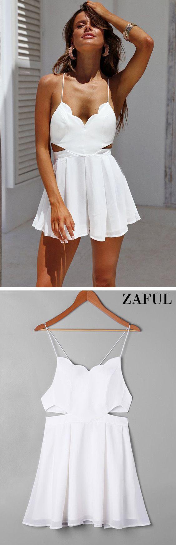Scalloped side cut out swing dress zaful clothing pinterest