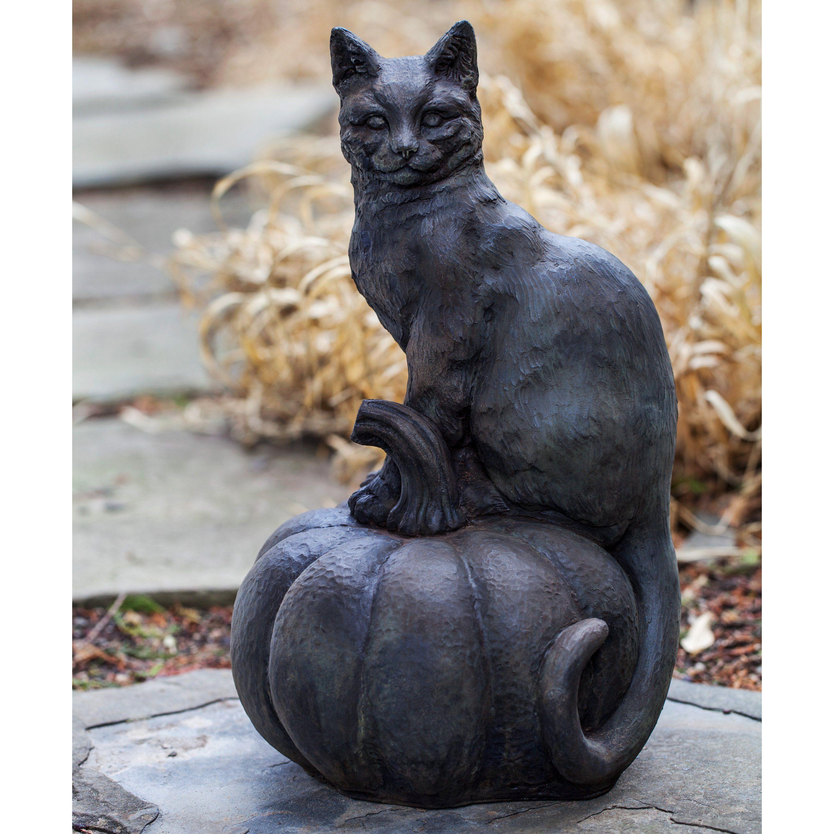 Campania International Cat On A Pumpkin Cast Stone Garden Statue