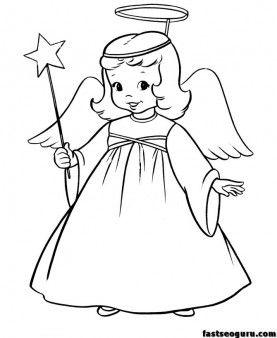 Christmas Angel Star Printable coloring pages kids fargelegge