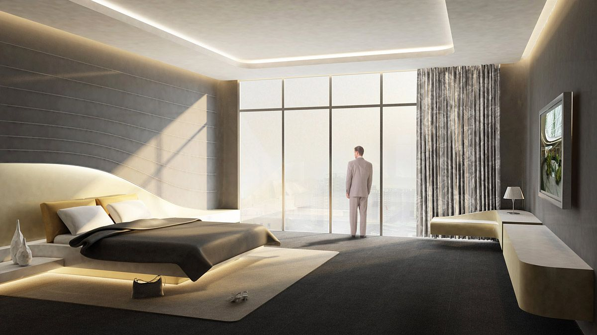 Modern hotel room design interior rendering for Designhotel roomers