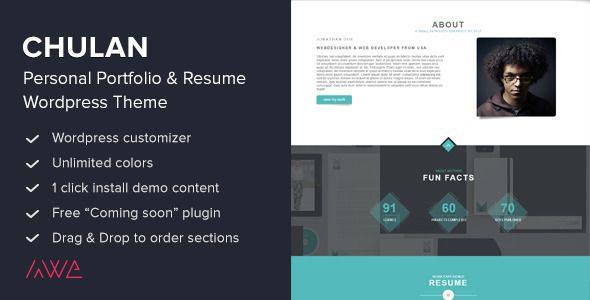 Wordpress Resume Theme Chulan  Personal Portfolio & Resume Theme  Pinterest  Personal .
