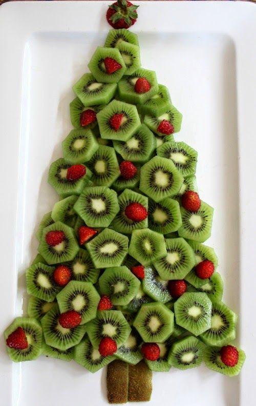 Kiwi Fruit And Strawberry Christmas Tree Platter Food Art Comida