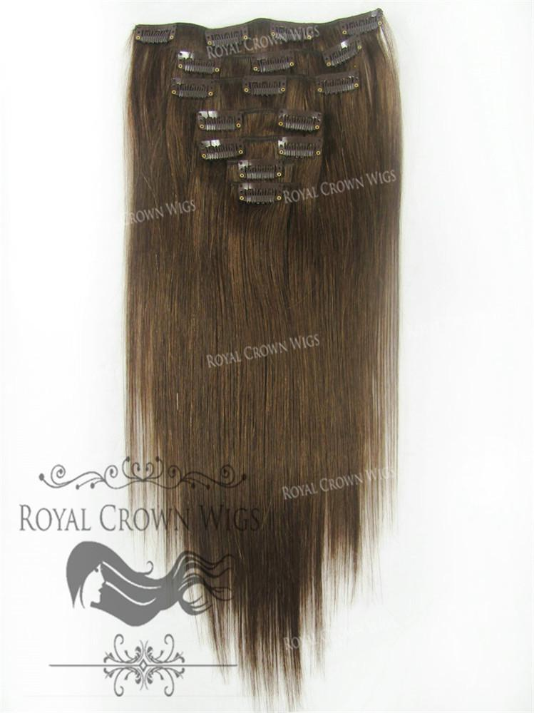 Brazilian 7 Piece Straight Human Hair Weft Clip In Extensions In 4
