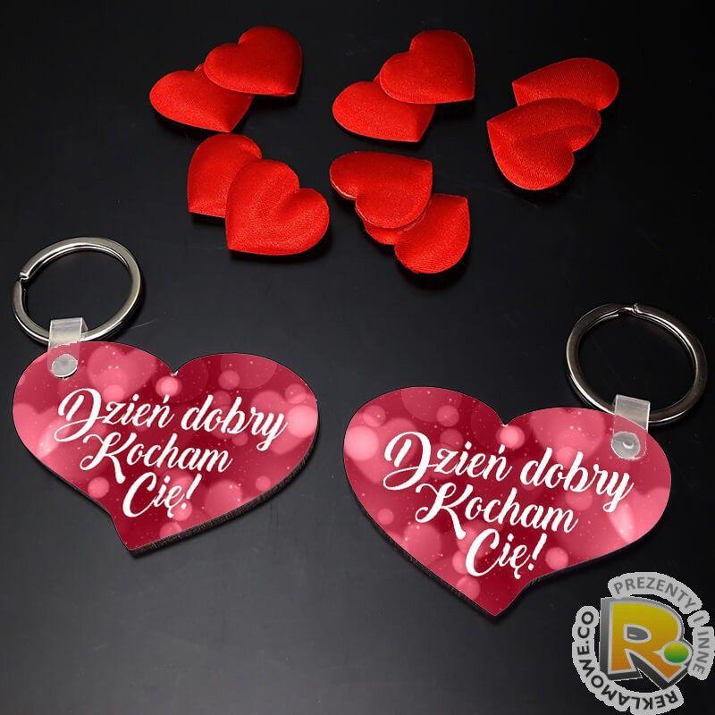 b0dd1c44485416 Komplet breloków serce na Walentynki z grafiką