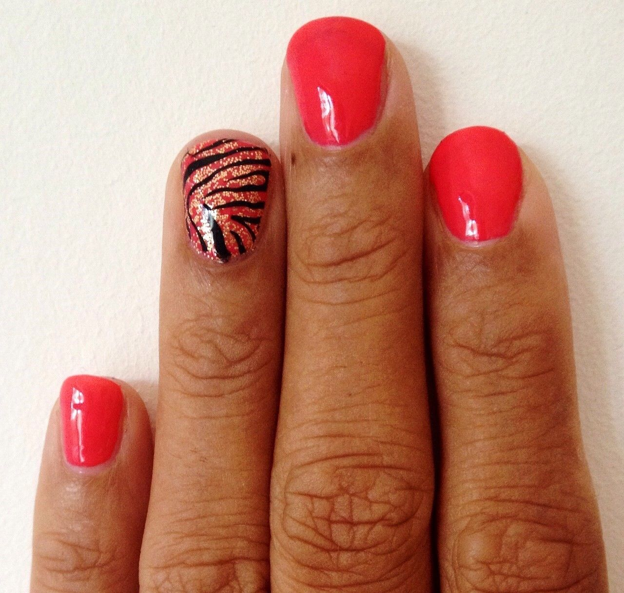 Coral Shellac With Gold Glitter Accent And Konad Nail Art Www