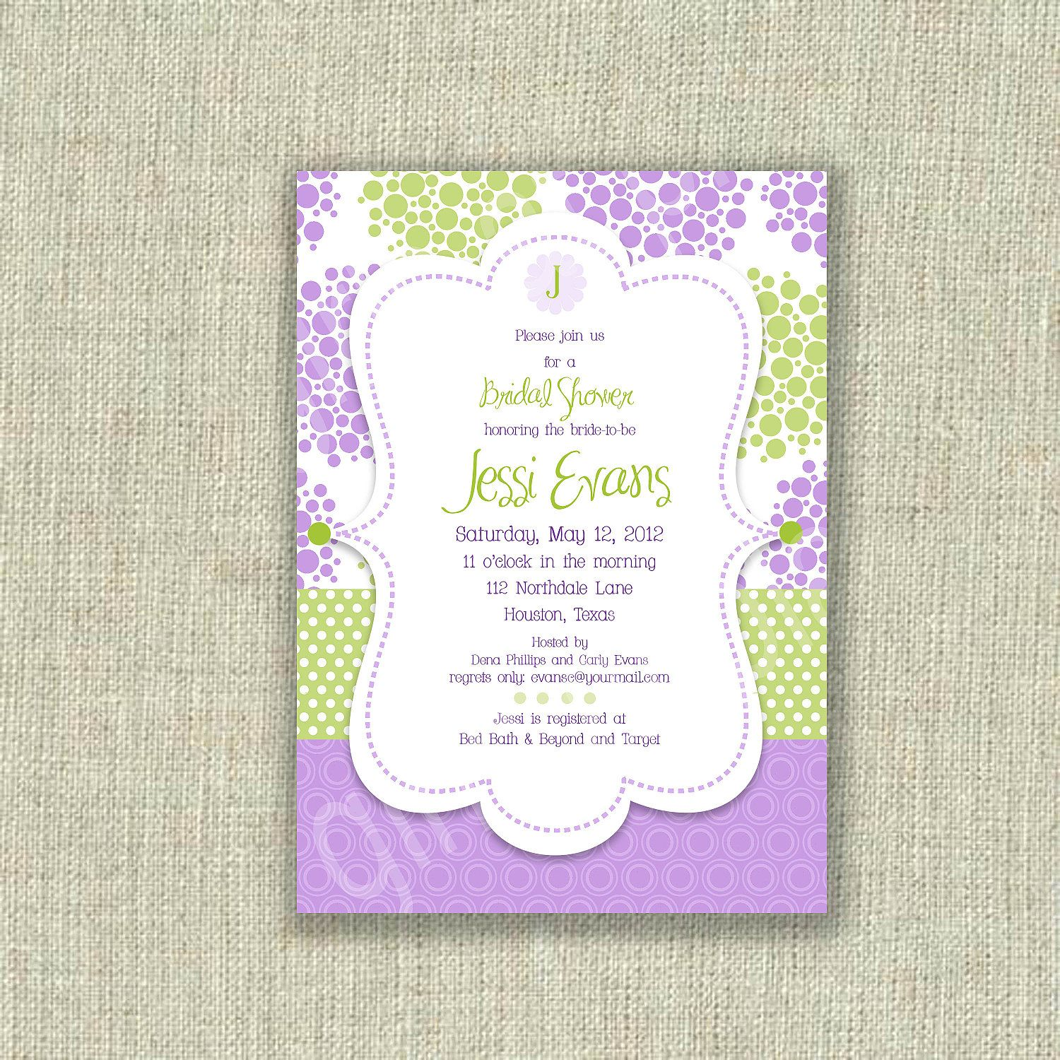 Baby Shower Invitation Lavender Purple Lime Kiwi green Dots ...